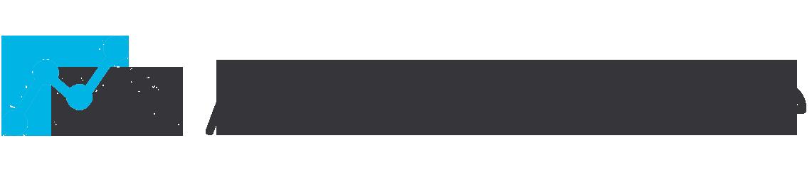 Blue and white Achievable mountain logo